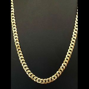 Harlembling 14k Gold 925 Silver Diamond 7mm Chain